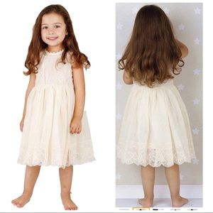 48aebbb2ee1 Ivory off white lace vintage flower girl dress